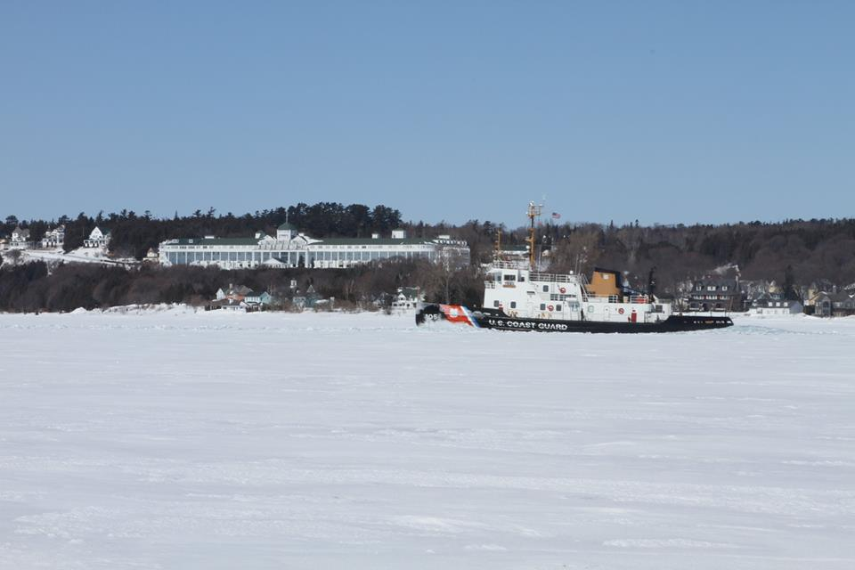US CG Neah Bay passing in front of the Grand Hotel. March 18 2014