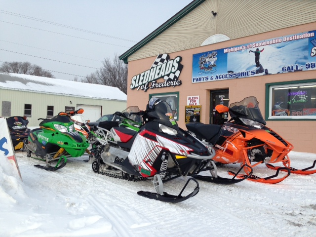 Sleds on a pit stop at Sledheads of Frederic