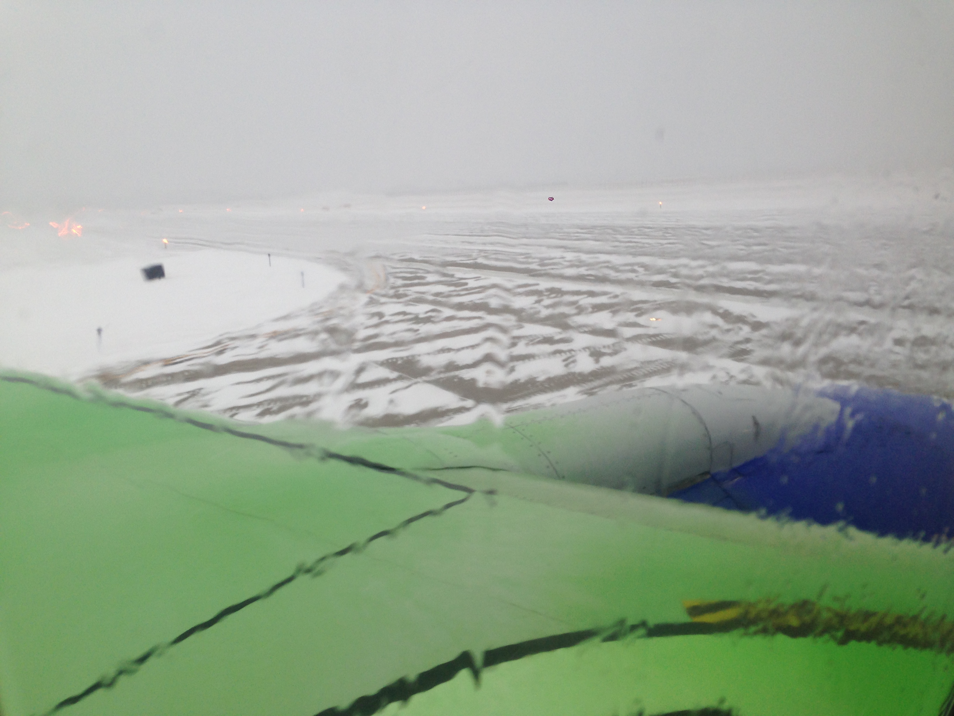 deicer on the plane wing