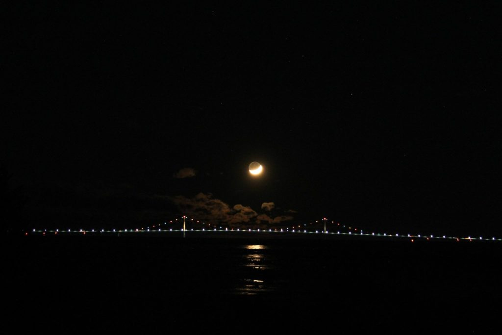 Moon over the Bridge from North end of BBI, Larry Pennell