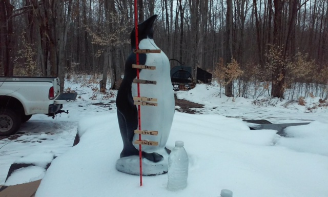 top clothes pin was snow depth on friday